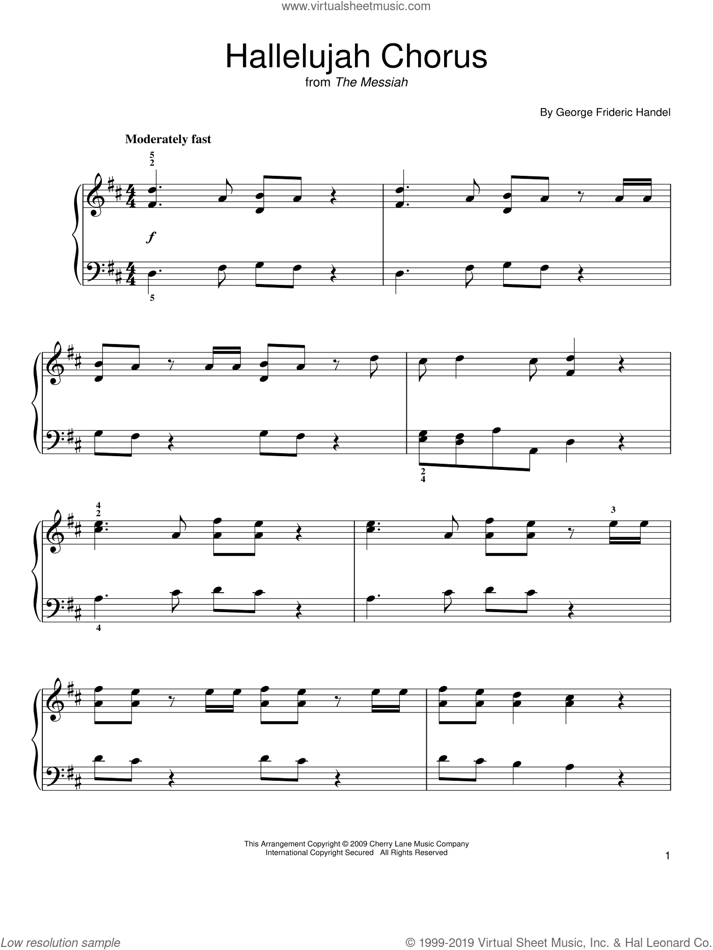 Hallelujah Chorus sheet music for piano solo by George Frideric Handel, classical score, easy skill level