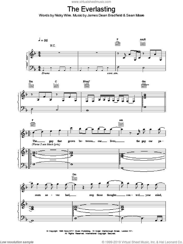 Everlasting sheet music for voice, piano or guitar by Manic Street Preachers, intermediate voice, piano or guitar. Score Image Preview.
