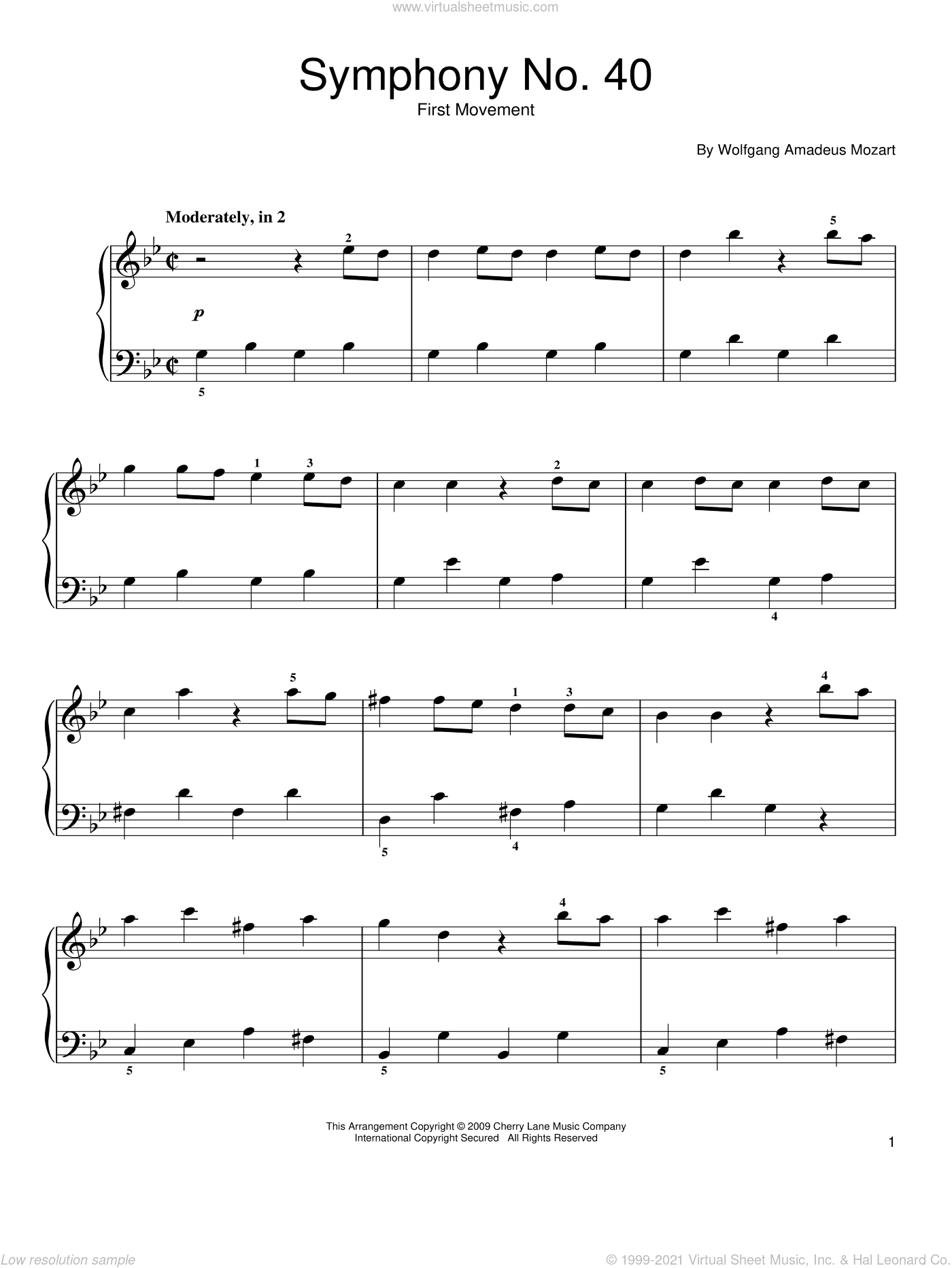 Symphony No. 40 in G Minor, First Movement Excerpt sheet music for piano solo by Wolfgang Amadeus Mozart, classical score, easy skill level