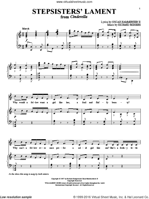 Stepsisters' Lament sheet music for voice and piano by Richard Rodgers, Rodgers & Hammerstein and Oscar II Hammerstein. Score Image Preview.