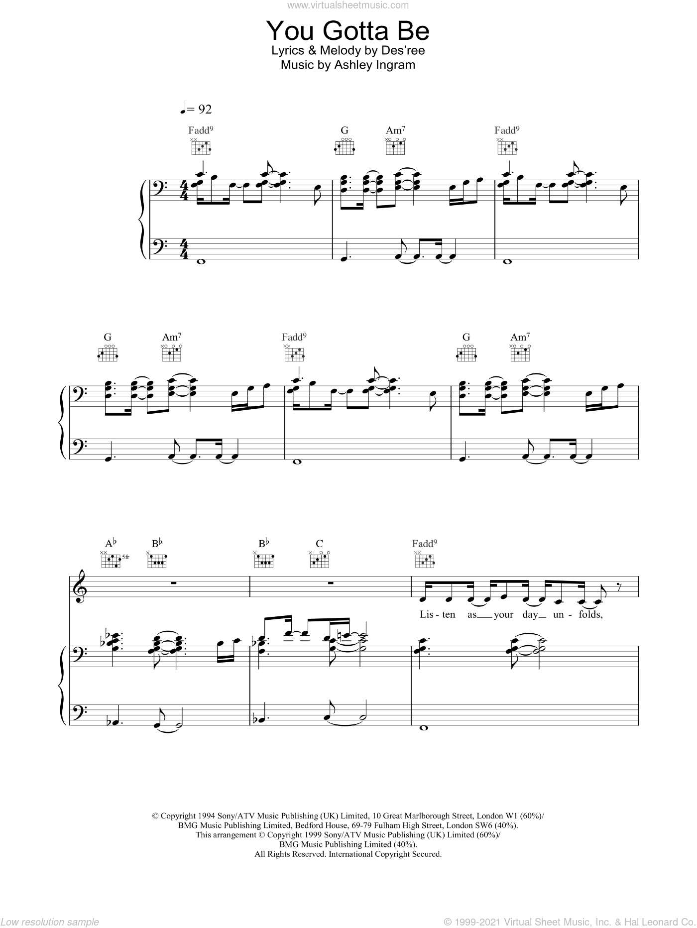 You Gotta Be sheet music for voice, piano or guitar by Des'ree