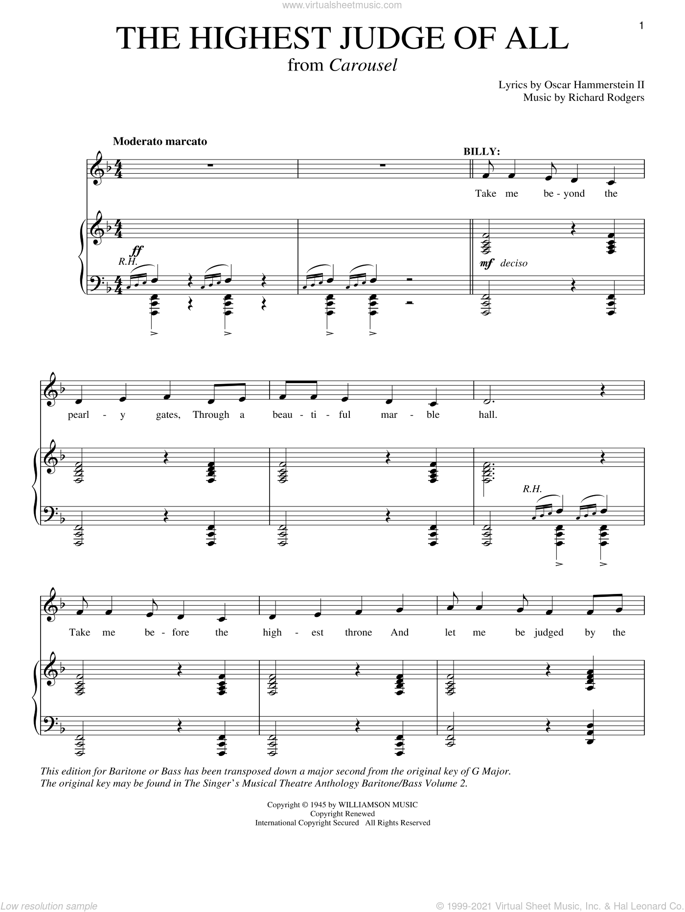The Highest Judge Of All sheet music for voice and piano by Rodgers & Hammerstein, Oscar II Hammerstein and Richard Rodgers, intermediate. Score Image Preview.