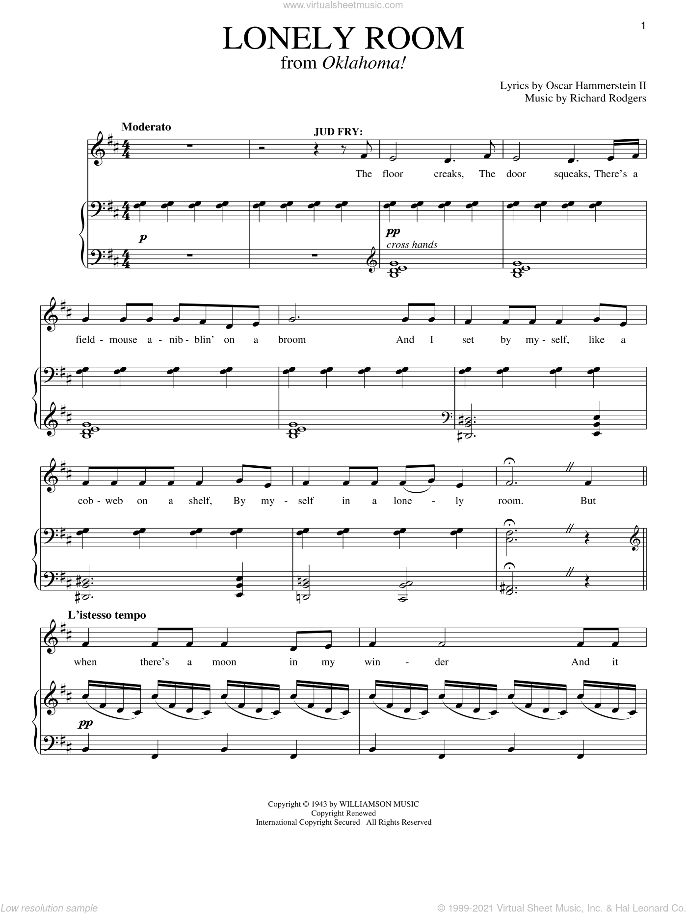 Lonely Room (from Oklahoma!) sheet music for voice and piano by Rodgers & Hammerstein, Oklahoma! (Musical), Oscar II Hammerstein and Richard Rodgers, intermediate skill level