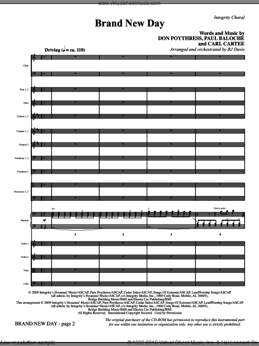 Brand New Day (COMPLETE) sheet music for orchestra by Paul Baloche, Don Poythress and BJ Davis, intermediate. Score Image Preview.