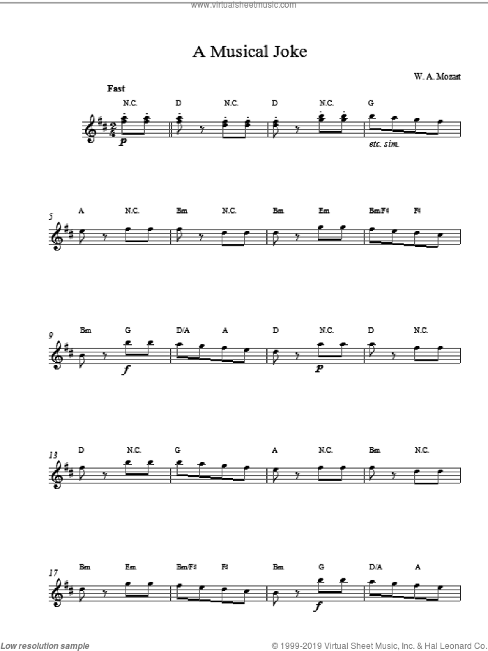 A Musical Joke (Top Line) sheet music for voice and other instruments (fake book) by Wolfgang Amadeus Mozart, classical score, intermediate skill level