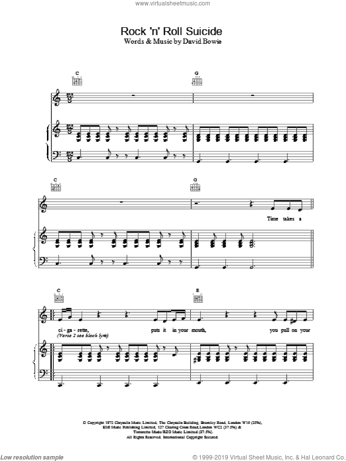 Rock 'N' Roll Suicide sheet music for voice, piano or guitar by David Bowie, intermediate skill level