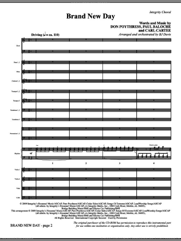 Brand New Day (COMPLETE) sheet music for orchestra/band (Orchestra) by Paul Baloche, Carl Cartee, Don Poythress and BJ Davis, intermediate skill level