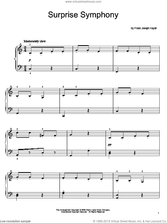 The Surprise Symphony sheet music for piano solo by Franz Joseph Haydn, classical score, easy skill level