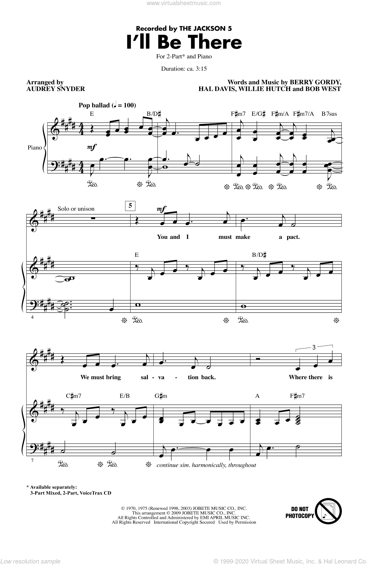 I'll Be There sheet music for choir (2-Part) by Berry Gordy, Bob West, Hal Davis, Willie Hutch, Audrey Snyder, Michael Jackson and The Jackson 5, intermediate duet