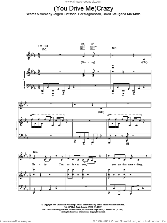 (You Drive Me) Crazy sheet music for voice, piano or guitar by Britney Spears. Score Image Preview.