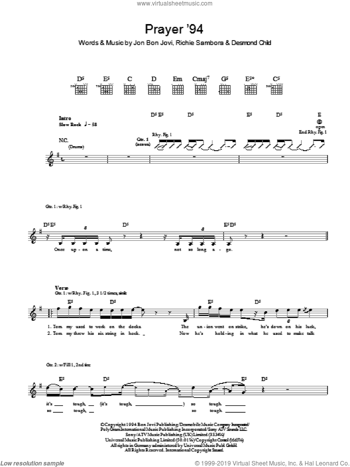 Prayer '94 sheet music for guitar (tablature) by Richie Sambora, Bon Jovi and Desmond Child. Score Image Preview.