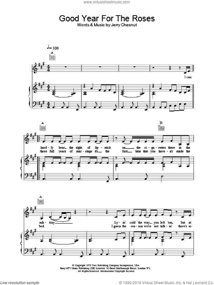 A Good Year For The Roses sheet music for voice, piano or guitar by Elvis Costello. Score Image Preview.