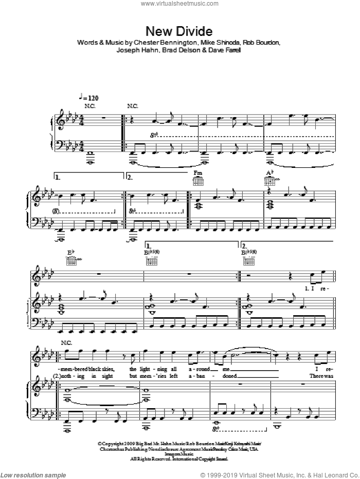 New Divide sheet music for voice, piano or guitar by Rob Bourdon