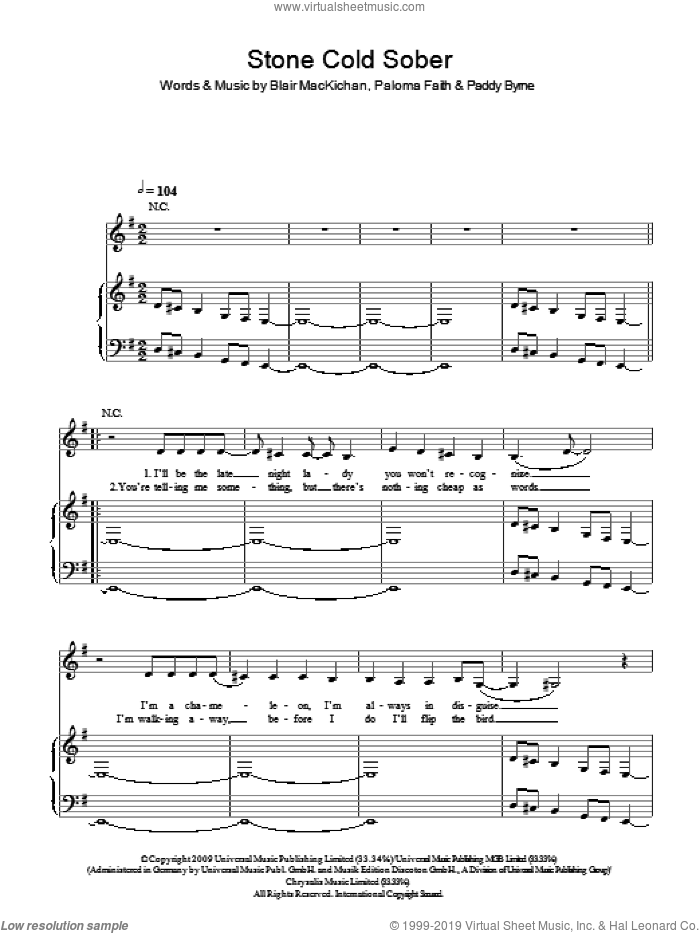 Stone Cold Sober sheet music for voice, piano or guitar by Paloma Faith, Blair MacKichan and Paddy Byrne, intermediate skill level