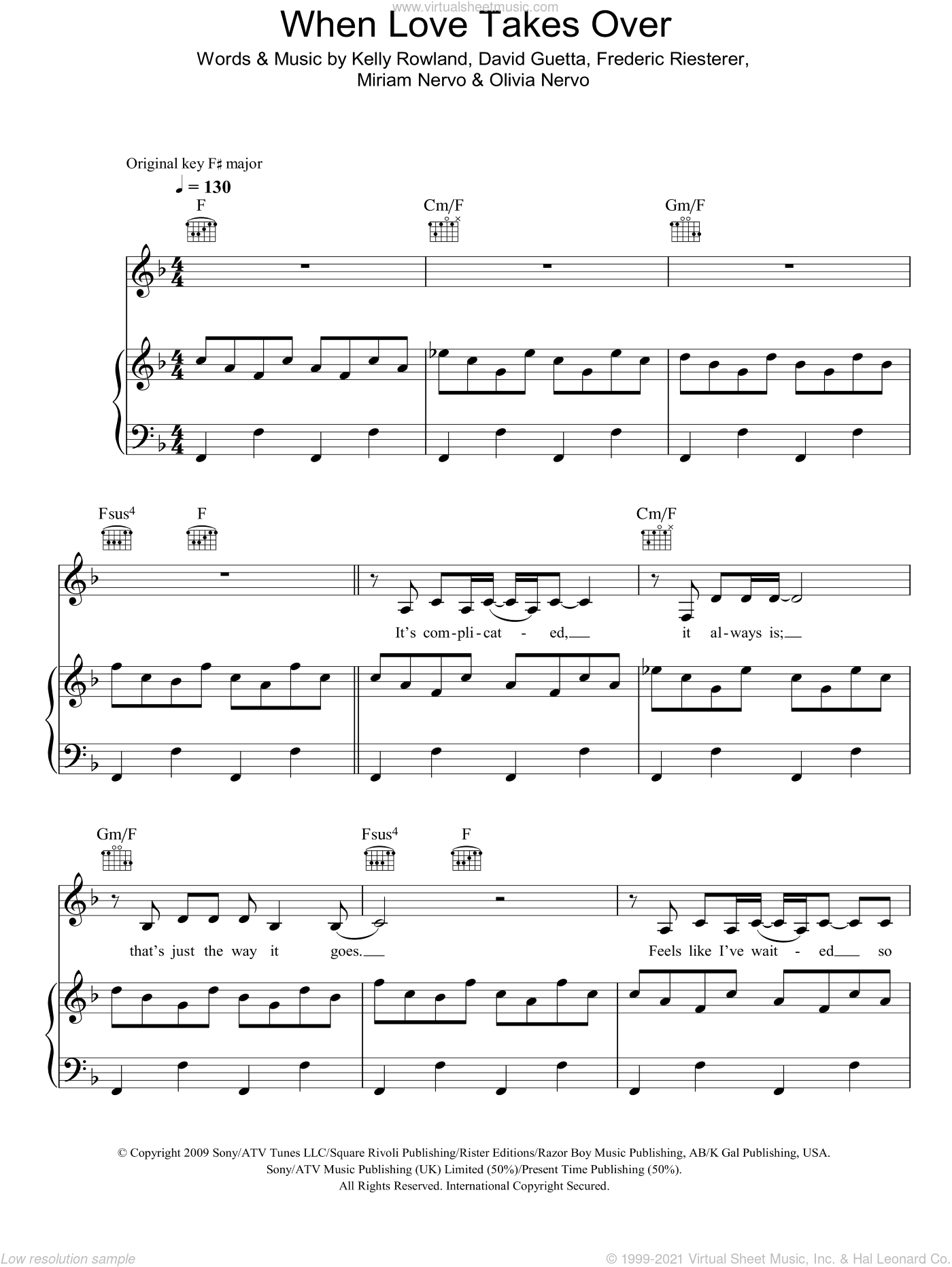 When Love Takes Over sheet music for voice, piano or guitar by Olivia Nervo, David Guetta, Frederic Riesterer and Kelly Rowland. Score Image Preview.
