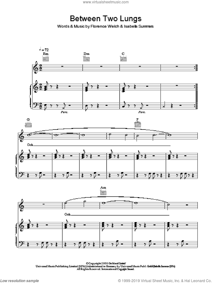 Between Two Lungs sheet music for voice, piano or guitar by Isabella Summers and Florence Welch. Score Image Preview.