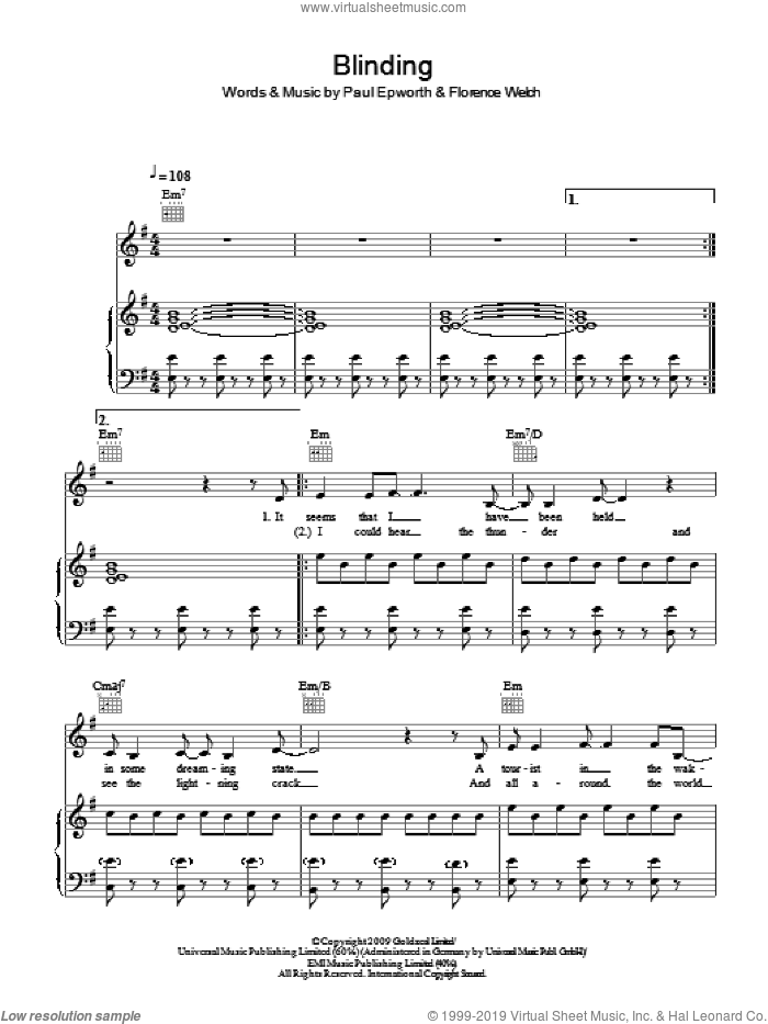 Blinding sheet music for voice, piano or guitar by Paul Epworth and Florence Welch. Score Image Preview.