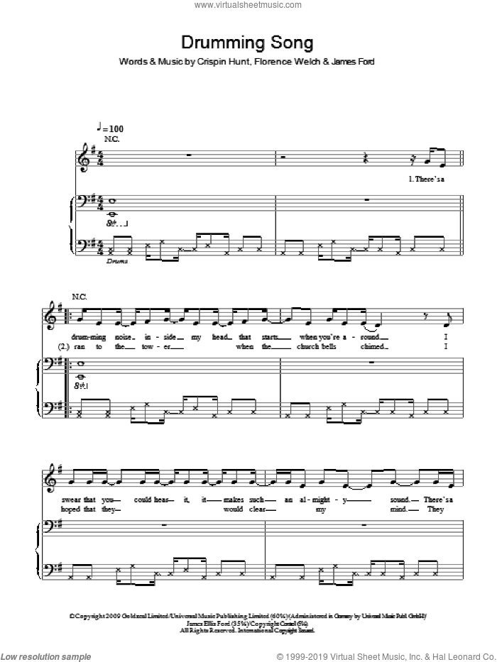 Drumming Song sheet music for voice, piano or guitar by James Ford, Crispin Hunt and Florence Welch. Score Image Preview.