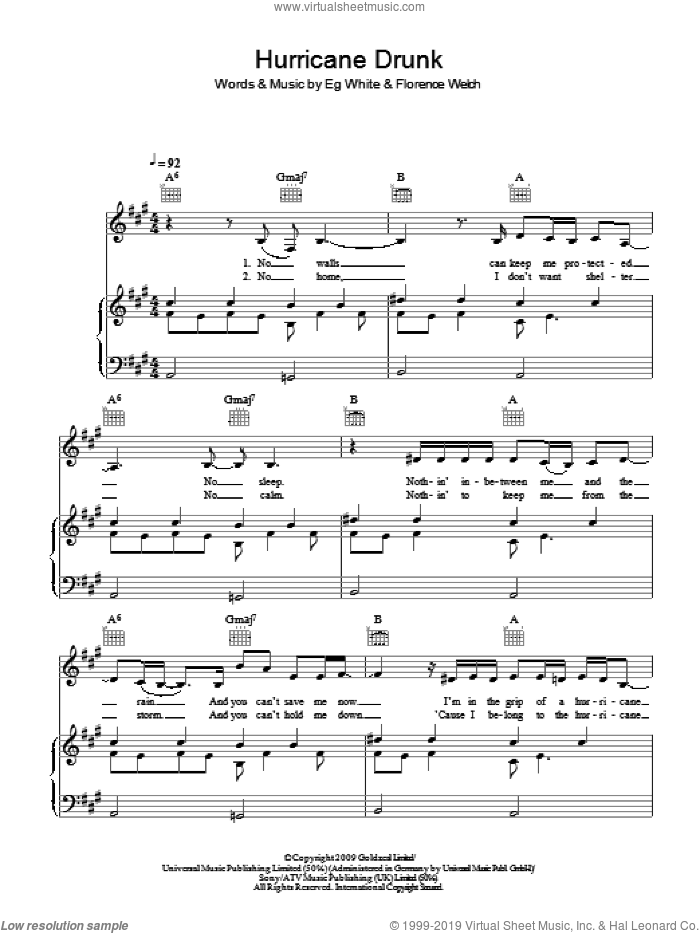 Hurricane Drunk sheet music for voice, piano or guitar by Florence And The Machine, Florence And The  Machine, Eg White and Florence Welch, intermediate skill level