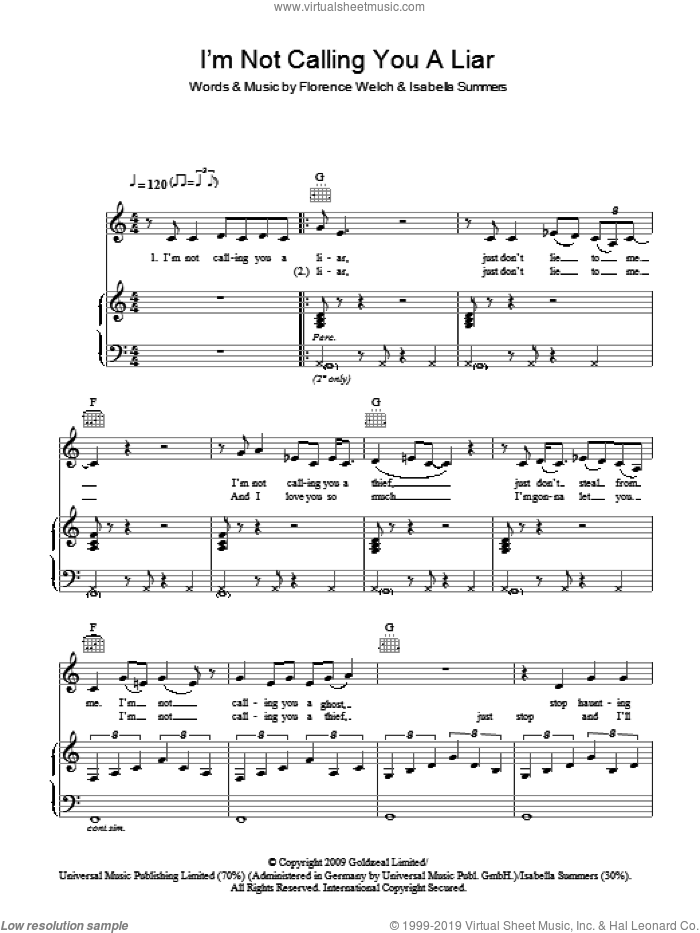 I'm Not Calling You A Liar sheet music for voice, piano or guitar by Isabella Summers and Florence Welch