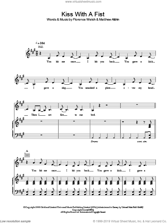 Kiss With A Fist sheet music for voice, piano or guitar by Florence And The Machine, intermediate
