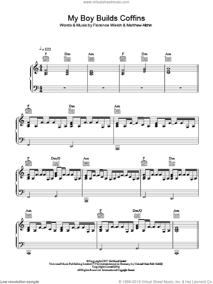 My Boy Builds Coffins sheet music for voice, piano or guitar by Matthew Allchin and Florence Welch. Score Image Preview.