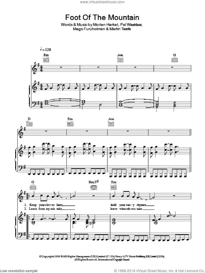 Foot Of The Mountain sheet music for voice, piano or guitar by a-ha, Mags Furuholmen, Martin Terefe, Morten Harket and Pal Waaktaar, intermediate skill level