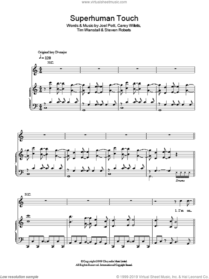 Superhuman Touch sheet music for voice, piano or guitar by Athlete, Carey Willetts, Joel Pott, Steven Roberts and Tim Wanstall, intermediate