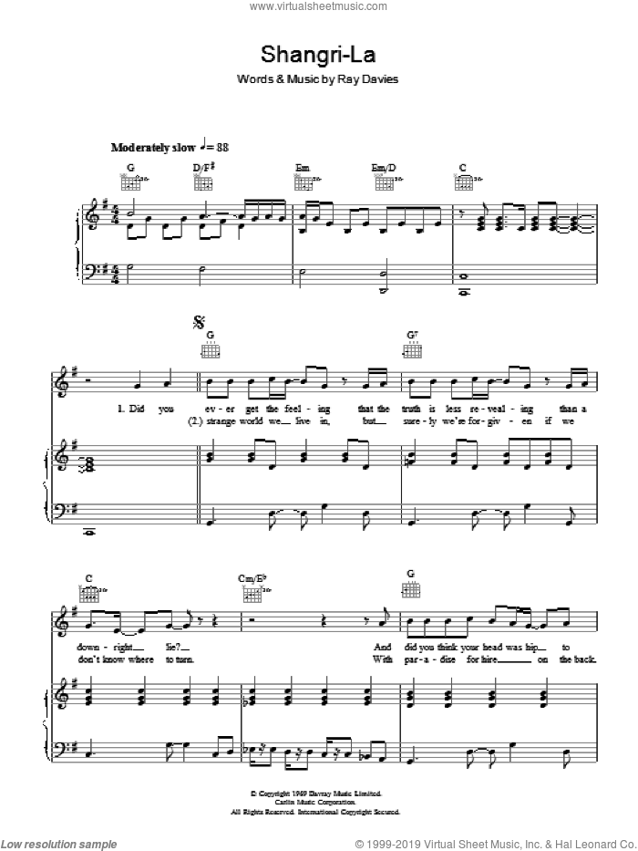Shangri-La sheet music for voice, piano or guitar by The Rutles and Ray Davies. Score Image Preview.