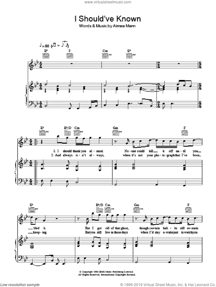 I Should've Known sheet music for voice, piano or guitar by Aimee Mann. Score Image Preview.