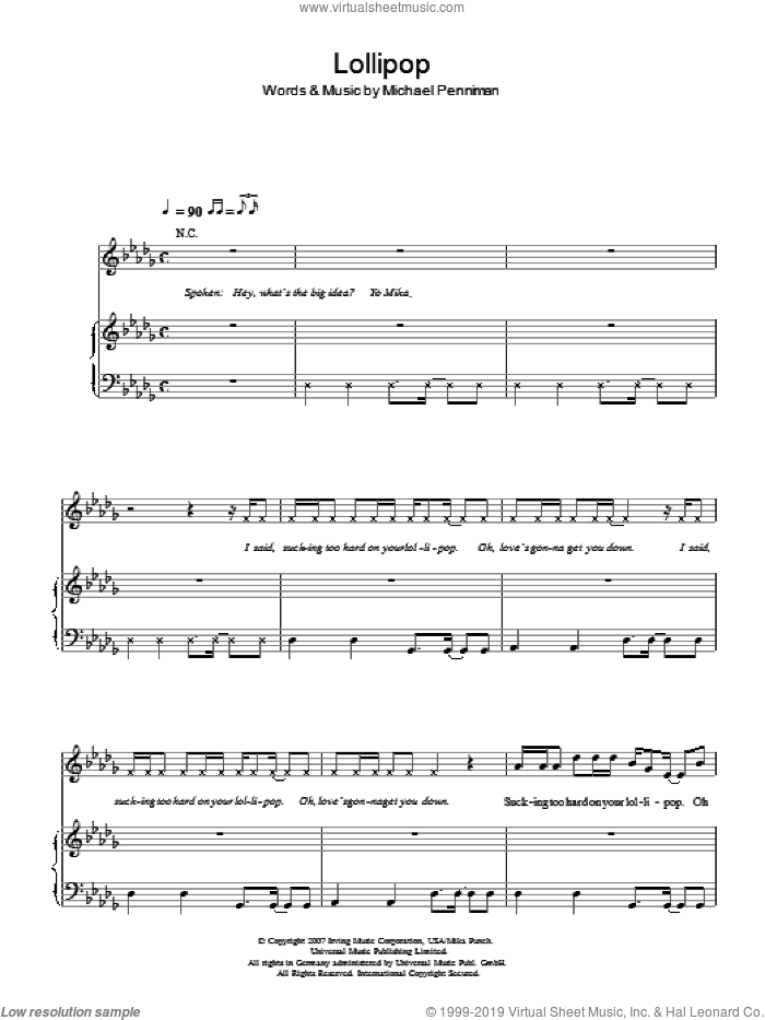 Lollipop sheet music for voice, piano or guitar by Michael Penniman and Mika. Score Image Preview.