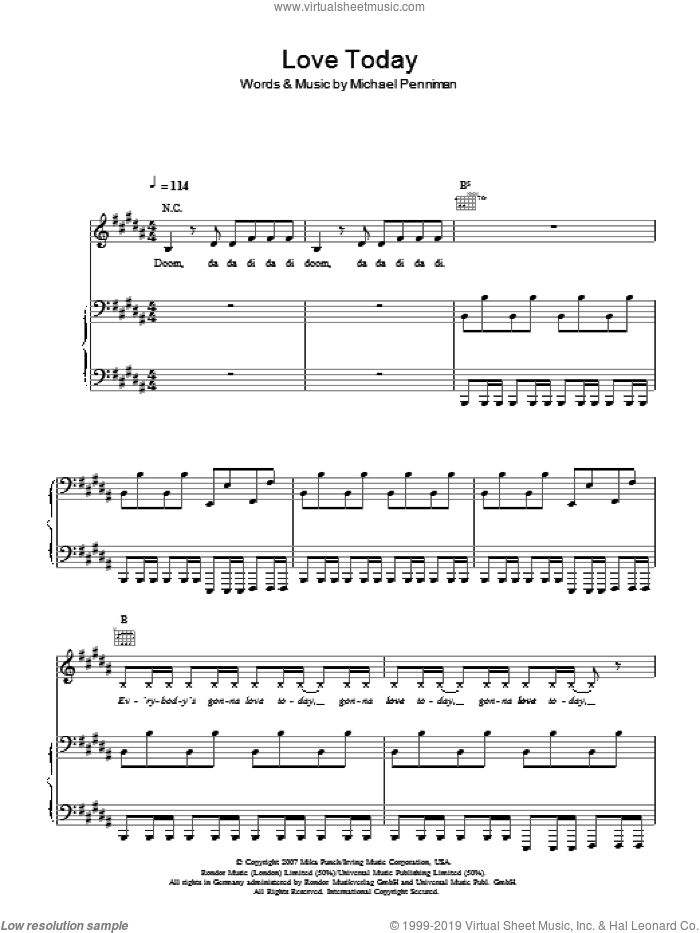 Love Today sheet music for voice, piano or guitar by Mika and Michael Penniman, intermediate skill level