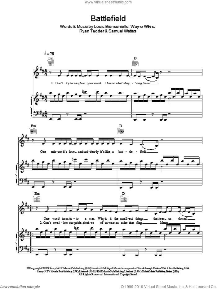 Battlefield sheet music for voice, piano or guitar by Wayne Wilkins, Jordin Sparks, Louis Biancaniello, Ryan Tedder and Sam Watters. Score Image Preview.