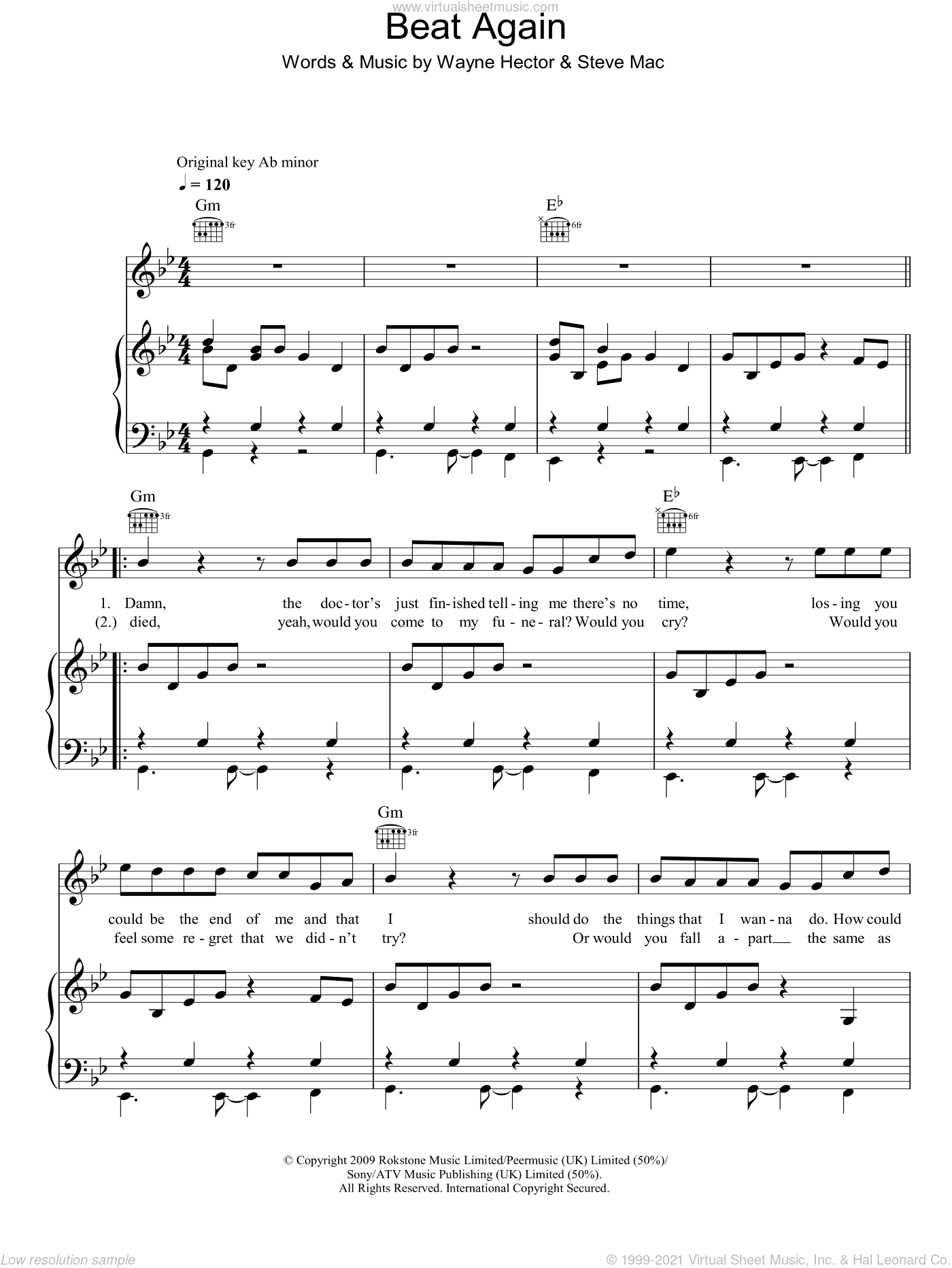 Beat Again sheet music for voice, piano or guitar by Wayne Hector