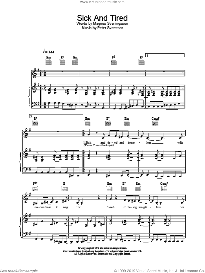 Sick And Tired sheet music for voice, piano or guitar by The Cardigans, intermediate. Score Image Preview.