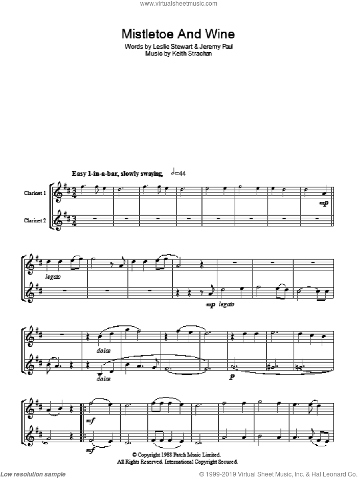Mistletoe And Wine sheet music for voice and other instruments (fake book) by Cliff Richard, Jeremy Paul, Keith Strachan and Leslie Stewart, intermediate skill level