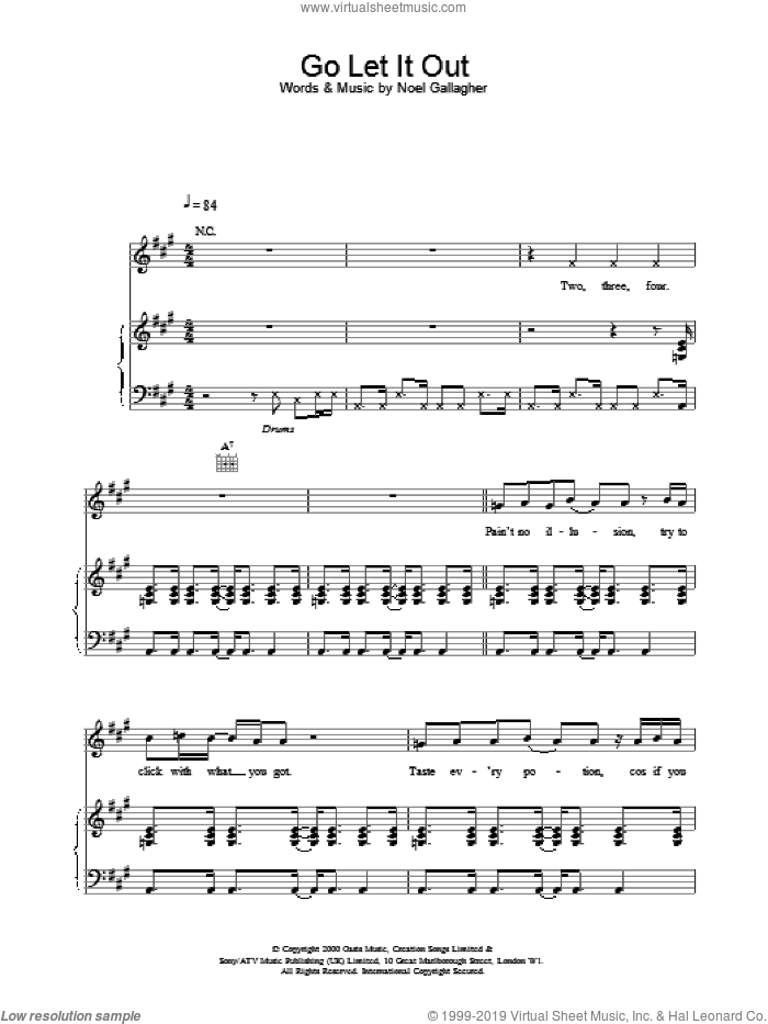 Go Let It Out sheet music for voice, piano or guitar by Oasis, intermediate skill level