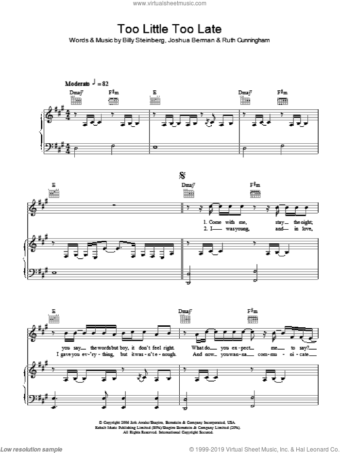 Too Little, Too Late sheet music for voice, piano or guitar by JoJo and Billy Steinberg, intermediate voice, piano or guitar. Score Image Preview.
