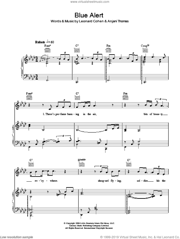 Blue Alert sheet music for voice, piano or guitar by Anjani, Anjani Thomas and Leonard Cohen, intermediate skill level
