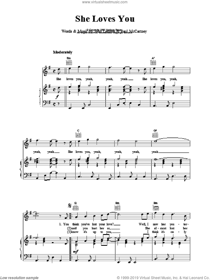 She Loves You sheet music for voice, piano or guitar by The Beatles. Score Image Preview.
