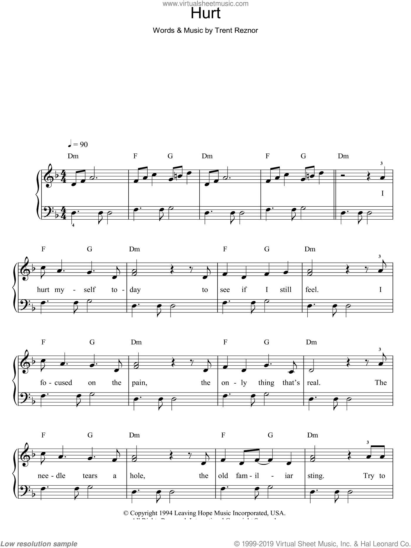 Hurt sheet music for piano solo by Trent Reznor and Johnny Cash. Score Image Preview.
