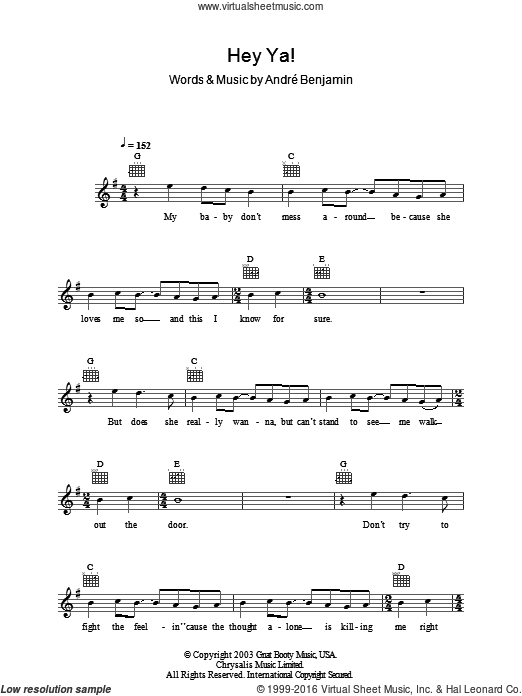 Hey Ya! sheet music for voice and other instruments (fake book) by OutKast, intermediate. Score Image Preview.
