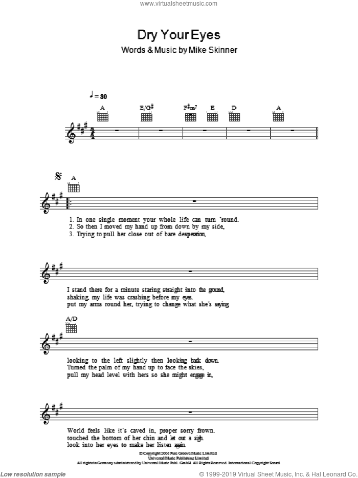 Dry Your Eyes sheet music for voice and other instruments (fake book) by Mike Skinner