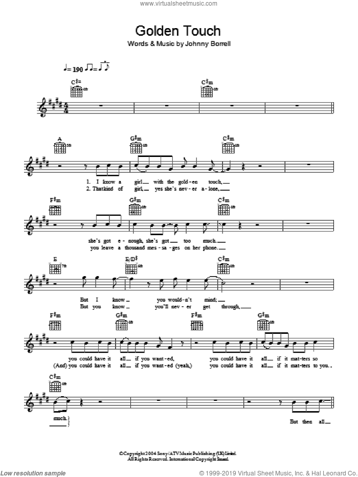Golden Touch sheet music for voice and other instruments (fake book) by Razorlight and Johnny Borrell, intermediate. Score Image Preview.