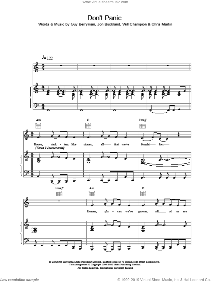 Don't Panic sheet music for voice, piano or guitar by Coldplay, intermediate voice, piano or guitar. Score Image Preview.