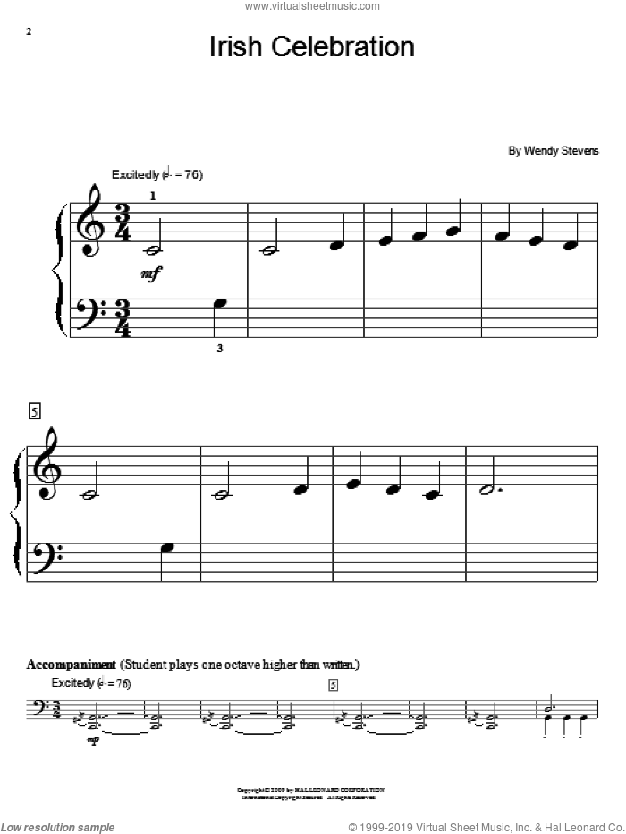 Irish Celebration sheet music for piano solo (elementary) by Wendy Stevens