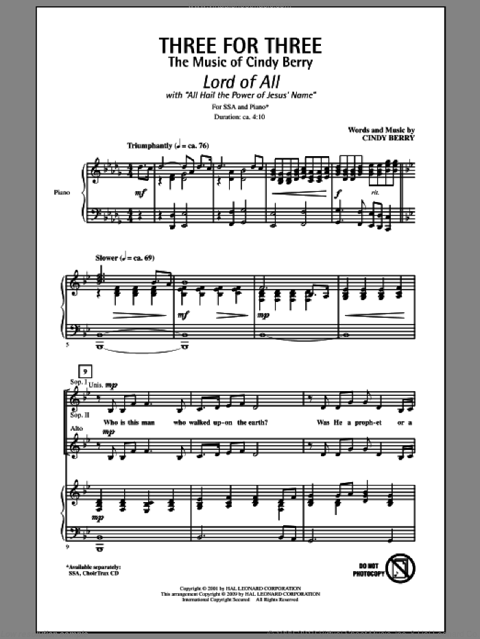 Three For Three - Three Songs For Three Parts - Volume 1 sheet music for choir (SSA: soprano, alto) by Cindy Berry, intermediate skill level