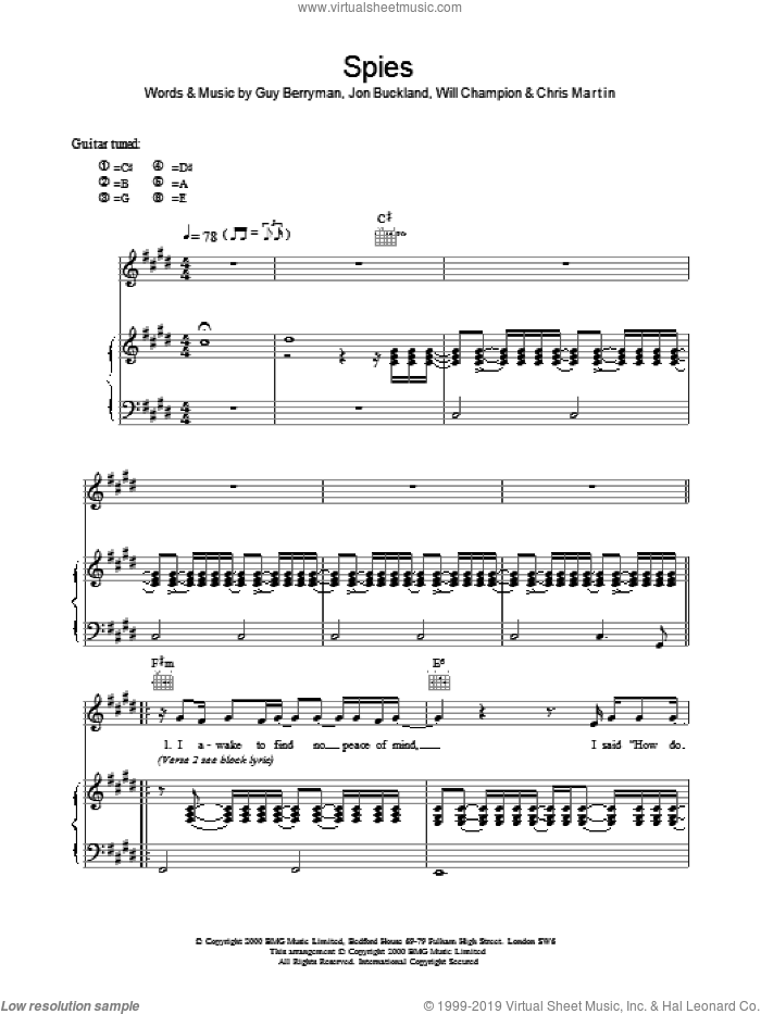 Spies sheet music for voice, piano or guitar by Coldplay. Score Image Preview.