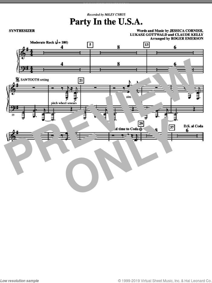 Party In The USA (complete set of parts) sheet music for orchestra/band (chamber ensemble) by Lukasz Gottwald, Claude Kelly, Jessica Cornish, Miley Cyrus and Roger Emerson, intermediate. Score Image Preview.