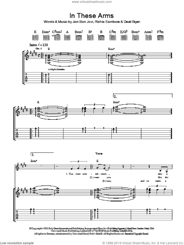 In These Arms sheet music for guitar (tablature) by Richie Sambora, Bon Jovi and David Bryan. Score Image Preview.